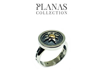 Gold Ring 14 k Yellow and silver.925 #BA - 60