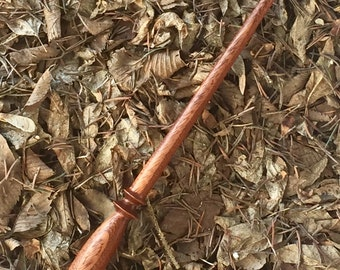 Harry Potter-inspired wand, reclaimed Honduras Mahogany wood, HP fandom,