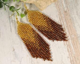 Beaded earrings, Gold, brown, Shine and charm, Long fringe earrings, Boho style, Native American style, seed bead earrings, fringe earrings