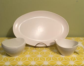 White Melmac Serving Tray with Creamer set