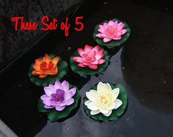 artificial floating lotus water lily floating flower decor wedding pool decor wedding pond - Pool Decor