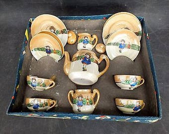 Vintage  THE LITTLE HOSTESS - 15pc Toy Tea Set With Skipping Girl Design