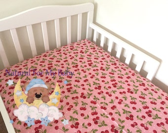 Cherry Fitted Crib Sheet Cherries Nursery Girl 100% Cotton Baby Girl Toddler Bedding Cherry Changing Pad Cover Cradle, Mini Crib Sheet