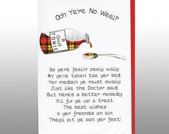Scottish Get Well Soon Card Medsin WWGW04