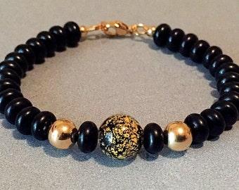 Onyx Bead Bracelet, Black Onyx Bracelet, Black Onyx Stone, Onyx Beads, Black And Gold Bracelet,Black Bracelet, Black Beads, Stone Bracelet