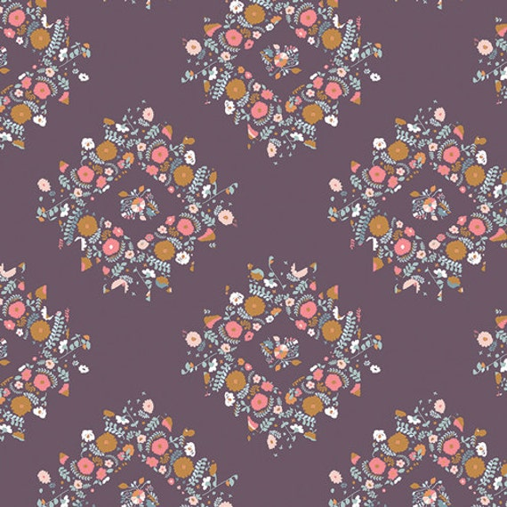 One Yard - Joy Wreaths Plum  - BLI-85608  - BLITHE by Katarina Roccella for Art Gallery Fabric - Fabric by the Yard - Art Gallery Fabrics