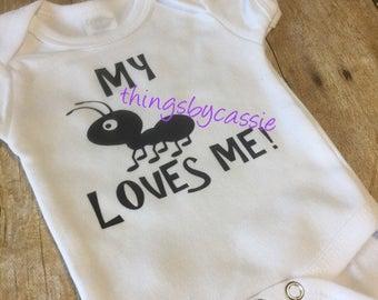 Aunt onesie, i love my aunt, baby announcement onesie, baby shower gift,