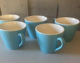 5 Vintage Cups, Tea Coffee Robins Egg Blue ceramic mugs