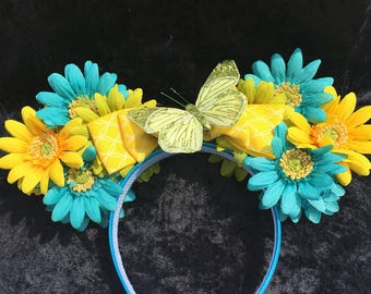 Teal Flower Ears