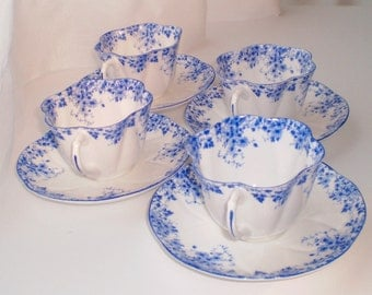 Free Shipping Set of 4 Shelley Dainty Blue Tea Cup & Saucer, Vintage, Teacup and Saucer
