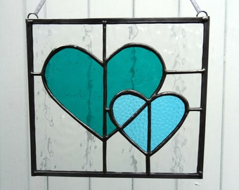 Hearts entwined stained glass window panel, fused glass art, colourful handmade lightcatcher, Valentine gift for her, wedding anniversary