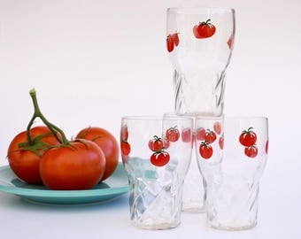 juice glasses with tomato design