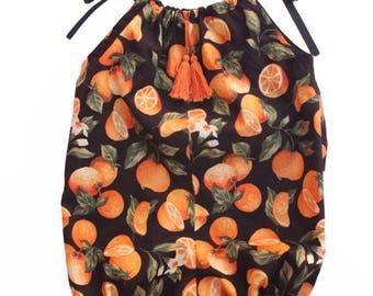 La Petite Orange Romper ~ Kid's Orange Citrus Print Summer Romper