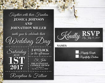 Rustic Wedding Invitations | Chalkboard Wedding Invites | Black and White | Barn Wedding | Rustic | Country Wedding | RSVP