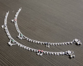 Tribal girls anklets | Indian women payal jewelry | Silver plated gift ring | Barefoot silver anklet | Bohemian jewelry | Girls Anklet |A158