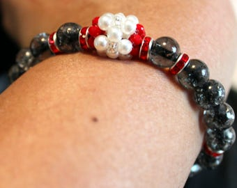 Beautiful grey, red & white-beaded shamballa bracelet with tassels; handmade, beadweaving, cute, elegant, blackish grey, cute