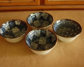 Oriental (Japanese) Rice Bowls Blue and White