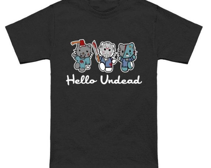 HELLO UNDEAD Hello Kitty Mash-Up Sanrio Friday the 13th Jason Voorhees Frankenstein Zombie Geek T-Shirt Nerd Horror Anime Shirt