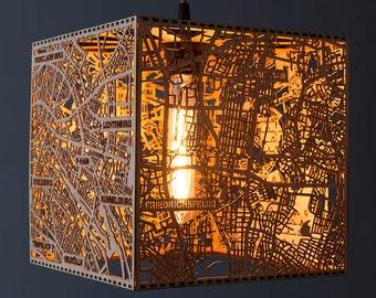 Berlin City Stadtplan Leuchte aus feinstem Holz - Kubus 25cm