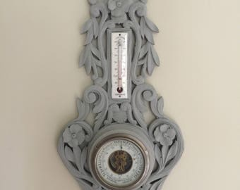 French antique Thermometer and Barometer Wall Hanging