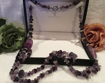 Truly Spectacular Double Strung FLAPPER Length AMETHYST Necklace-Genuine AMETHYST Paired with Amethyst Crystal Beads and Diamante's