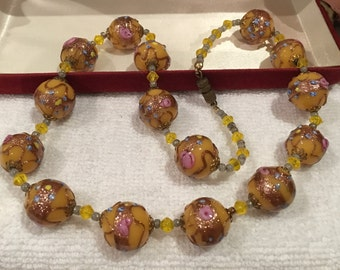 """Absolutely Wonderful 1950's VINTAGE Venetian Glass """"WEDDING CAKE"""" Beads-Necklace-Beautifully Hand Made-Italy-50cm (19.5 inch)"""