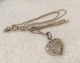 Gorgeous Vintage Sterling Silver and CUBIC ZIRCONIA-HEART Pendant-Still in its Original Box-On a 46cm (18 inch) Sterling Silver Chain
