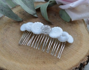 White Bridal Hair Slide Comb Vintage Buttons / Gift For Her / Bridesmaids