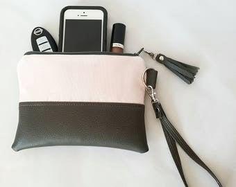 Gray Pink Blush Wristlet - Wristlet Wallet - Womens Wallet - Faux Leather - Small Crossbody - Phone Wallet - Wristlet Purse - Bridesmaid