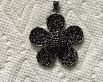 Pave  black spinal sterling silver pendant