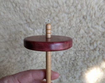 Purple heart top whorl drop spindle