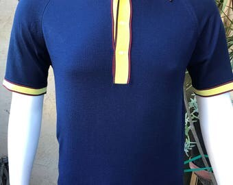 1970's Mens Ban-Lon Knit Shirt/ Mad Men Mod Knit