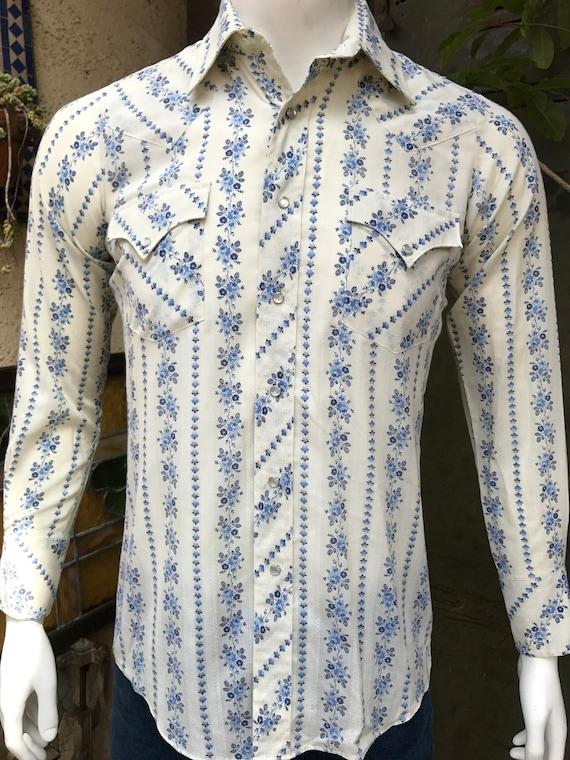 Sheplers Men 39 S Vintage Floral Western Shirt 80s Urban
