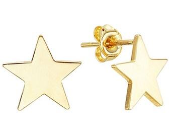 14k Solid Yellow Gold Stud Earrings Enostar 7795 Charming Star Design Lovely