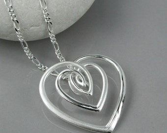 Xiomara Silver Heart Pendant, Sterling Silver, Concentric Hearts Pendant, Heart Jewelry, Interlinking Hearts, Mixed Finish Silver Heart