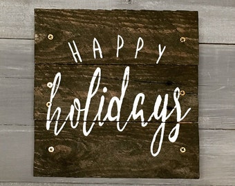 Happy Holidays Wooden Painted Pallet Sign