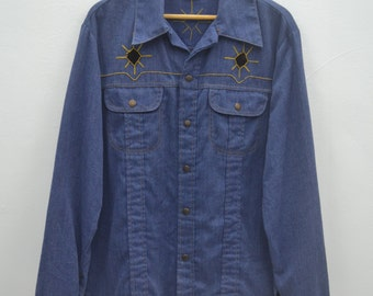 SEARS ROEBUCKS Jacket Vintage Sears Roebuck & Co Embroidery Style Button Down Denim Jacket Size L