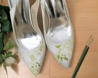 Hand-painted White Rose & Green Custom Wedding Shoes Sling back