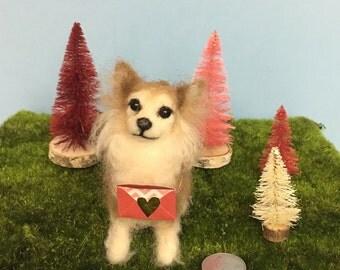 Mini-Pup Needle Felted Long Hair Chihuahua