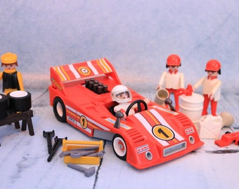 Vintage Playmobil Geobra 1974 Toy Le Mans F1 texaco racing car Red set all parts complete
