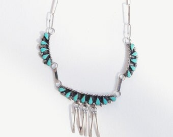 Delicate Petit Point • Vintage Zuni Sterling + Turquoise Necklace
