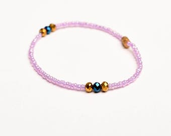 Beaded Anklet - Pink Beads With Crystals Anklet
