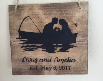 Bride and Groom fishing, boat, fishing wedding, RV sign, camper sign, Personalized, wedding gift, bridal shower gift, rustic wood