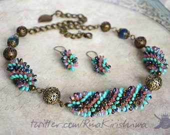 turquoise pink magic blue spiky necklace  beaded spiral necklace beaded earrings jewelry set ooak handmade
