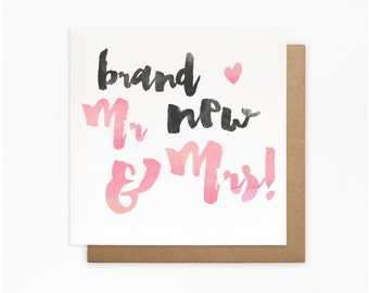Brand New Mr and Mrs Card - 100% Recycled Card - Blank Card - Wedding Day Card - For the Couple - Wedding Card - Handmade Card