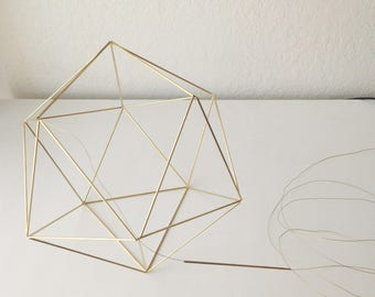 DIY Pattern Only (w/ video): Geometric Icosahedron Himmeli - Coffee Table Decor - Minimalist Orb Brass Sphere  - Airplant Mobile - W