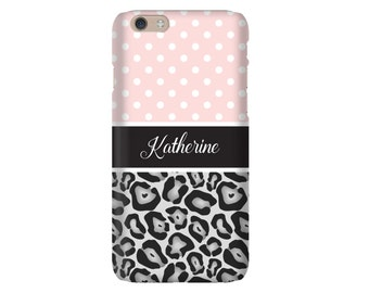 Personalized iPhone Case, iPhone 6s, Monogram iPhone 6 Case, iPhone 6 Plus, SE Case, Samsung Galaxy Cases, Galaxy S7 Case, Polka Dot Leopard