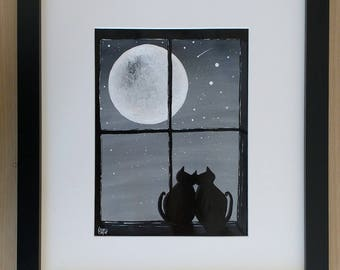 Original Framed Acrylic Painting Grey Full Moon Stars Love Cats in a Window Windowsill Unique Quirky Romantic Wedding Anniversary Gift