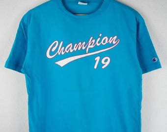 RARE!!! Champion 19 Big Logo SpellOut Crew Neck Blue Colour T-Shirts L Size