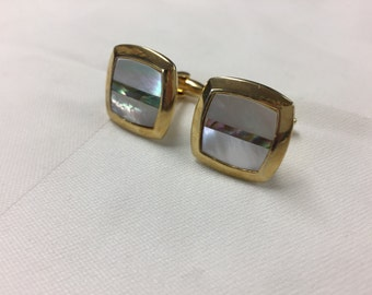 Vintage Gold Tone Mother Of Pearl Square Cufflinks